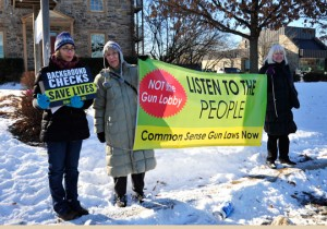 Members of Delaware County United protest stet Rep. Steven Barrar's decision to not cosponsor HB 1010.