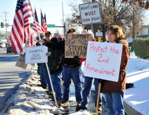 Counter protestors thank Barrar for his stance.