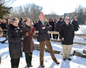 Employees of the newly renamed Brandywine Conservancy and  Museum of Art watch as the new sign is unveiled.