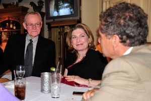 Chadds Ford Township Supervisor Keith Klaver and Chadds Ford Republican Party leader Mary Kot socialize with Vince Del Rossi, also of Chadds ford, during state Rep. Stephen Barrar's campaign kickoff at the Inn Keepers's Kitchen on March 20.