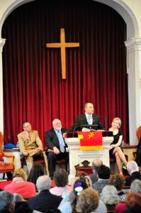 The Rev. Marco Almonte addresses the congregation of Brandywine Baptist Church for the first time as the church;s newly installed pastor. He took over from the Rev. William Scott who retired in 2012.