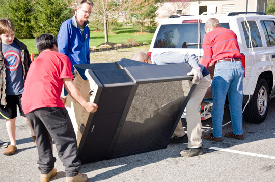 What's a cleanup without recycling? Saturday was also recycling day in Chadds Ford where people could get get of appliances and other electronics. Anything with a plug.