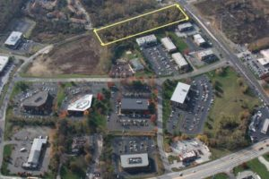 An aerial view of the Chadds Ford Business campus. The yellow rectangle shows the location of the proposed hotel and restaurant.