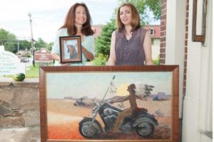 Marie Kirkwood, left, and Pam Julian-Smyers open a two-artist exhibit at the Chadds Ford Gallery on Sept. 13.