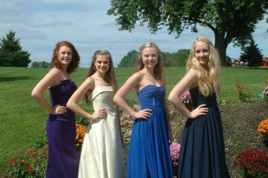 Unionville Community Fair Princess hopefuls Shannon White (from left) and Sarah Taylor pose with the two candidates for Fair Queen:  Ellan Dunbar and Carly Rechenberg. All are students at Unionville High.