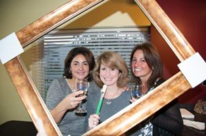 Wine and painting come together at Pinot's Palette in Olde Ridge Village. Joining the opening night session are, from left, Joanne Fleitz, Donna Long and Debbie Zappala.