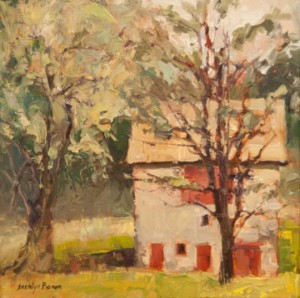 """Jacalyn Beam's """"Fairville Bank Bark"""" reflects the feel of a damp day as on;y plein air can."""