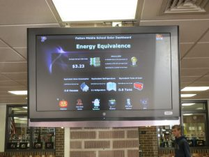 A dashboard in the middle-school lobby will help students monitor the sun's output.