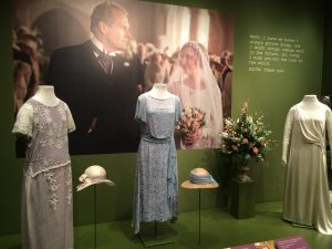 The dresses worn by the Granthan sisters during Lady Edith's ill-fated wedding are on display.