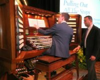 Benjamin Sheen, the winner of the inaugural Longwood Gardens International Organ Competition, gets ready to perform at the premiere of the 'Pulling Out All the Stops' documentary.