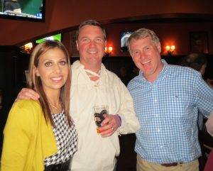 Chadds Ford Historical Society Executive Director Nadia Barakat (from left) poses with Dr. Kirk W. Reichard, a board member, and David Dietz, the BBC Tavern and Grill's owner.