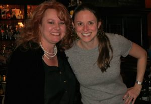 Victoria Wyeth (right) poses with one of her fellow guest bartenders, Lisa Vonderstuck, a board member of the Chadds Ford Historical Society.