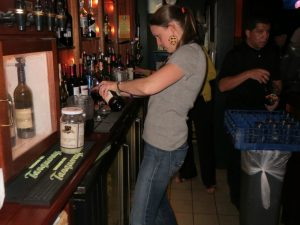 Victoria Wyeth proves that she's a quick learner when it comes to bartending skills.
