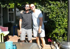 Eric Stauffer (left), and his stepfather, Eric Miller, say  their winemaking collaboration benefits from the fact that they share the same  tastes.