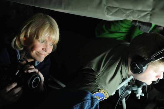 "Chester County Sheriff Carolyn ""Bunny"" Welsh enjoys the view at 22,000 feet in a Boeing  C-135. Photo courtesy of the Employer Support of the Guard and Reserve (ESGR)"