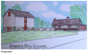 A rendering by architect shows a view of the restored barn and the exposed foundation of the scrapple factory addition.