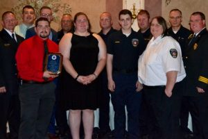 Members of the Keystone Valley Fire Department pose with Keith Johnson (right), president of the Chester County EMS Council after receiving the Distinguished Service Award.