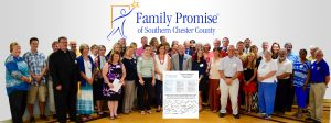 Representatives of more than 20 churches in southern Chester County assemble to sign up for Family Promise, a program designed to alleviate homelessness.