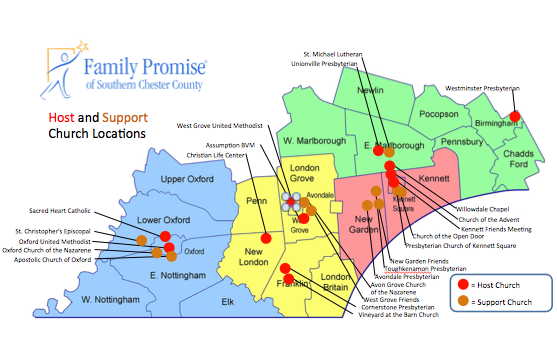 A chart shows the participating congregations who have signed up for Family Promise of Southern Chester County.
