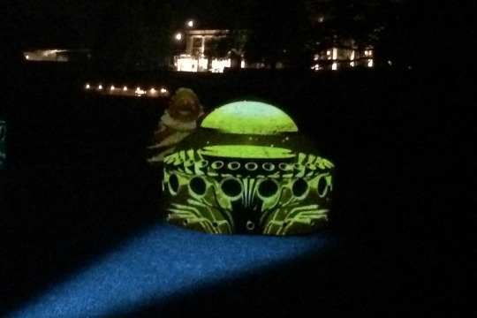 With Longwood's conservatory in the background, the Topiary Garden comes alive with multiple –and colorful – personalities during Nightscape, a multi-sensory installation.