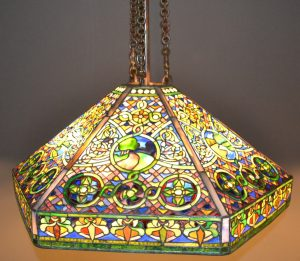 Landscape is a leaded glass and bronze hanging shade from 1905 that is included in the Winterthur exhibit.