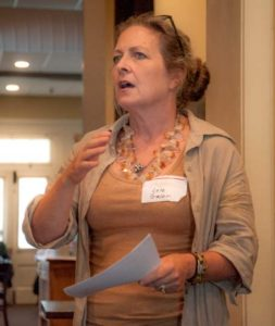 Lele Galer addresses members of the Chadds Ford Business Association during the group's October luncheon at Antica Restaurant. She said public art can help bring a community together.