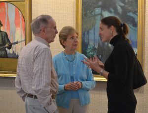 David Linton (from left) and his wife, Barbara Linton, of West Chester, chat with Victoria Wyeth before her presentation at the Chester County Art Association, which is running an exhibit of her great-grandfather's work through Sunday, Oct. 18.