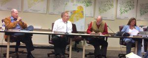 Kennett Township Supervisors Robert Hammaker (from left). Scudder G. Stevens, and Richard L. Leff and Township Manager Lisa M. Moore listen during public comment at Wednesday night's supervisors' meeting.