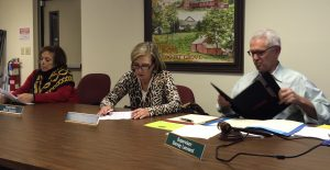 Pocopson Township Supervisors Ricki Stumpo (from left), Georgia Brutscher, and Barney Leonard listen to financial projections for the 2016 budget.