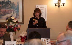 Noel Barbone addresses fellow Republicans at the Oct. 17 luncheon of the Chadds Ford Republican Party.
