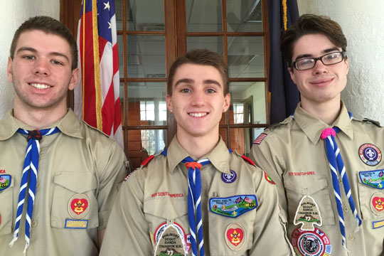 Boy Scout Pack 31, of Chaads Ford, will hold a Court of Honor for three Eagle Scouts 7 p.m. on Monday, Nov. 23, at Hillendale Elementary School. Scouts being honored are, from left, Dylan Smallacombe, Ian Mears and Benjamin Schenk.