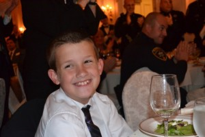 Alex Collins is all smiles after realizing that he's been deceived once again by two Chester County Sheriffs. The 10-year-old was attending an awards dinner for Chester County Sheriff Carolyn 'Bunny' Welsh when Chester County Sheriff Alex Underwood flew in from South Carolina to surprise him.