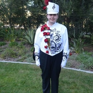 Brian R. Ayllon shows off his uniform as a member of the Tournament of Roses Honor Band, which played at the 2015 Rose Bowl in Pasadena, Ca.