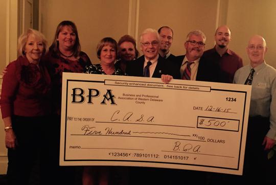 BPA Board Presents Check From left to right Sofia Clinger, Anne Eunson, Lisa Dort, Deborah Love, Jack Kinsley, Anton Dell'Orefice, Ron Hudecheck, Jason Saul and Tom Bird