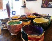 Tea bowls made by Greenwood Elementary students to benefit Kennett Cupboard