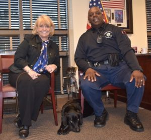 Chester County Sheriff Carolyn 'Bunny' Welsh (left) and Deputy Sheriff Paul Bryant pose with Mellie, the newest addition to the K-9 unit.