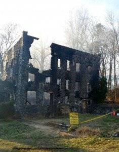 The for-sale sign still stands in front of the gutted home. Photo courtesy of Brandy Ashley