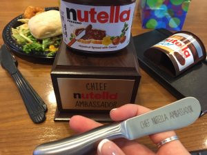 The Chief Nutella Ambassador receives a personalized knife to spread Nutella joy.