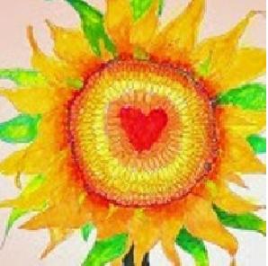 Heart Sunflower by Sally Wilson