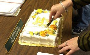 A celebration followed Monday night's supervisors' meeting as Supervisor Elaine DiMonte cuts a birthday cake for Supervisors' Chairman Ricki Stumpo,