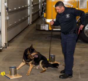 Sheriff's Deputy Brian Bolt is shown with his partner, Yukon.