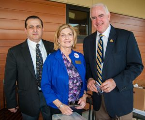 U.S. Rep. Pat Meehan, a Chadds Ford Township resident, spends part of the primary election with other Chadds Ford Republicans. Show with Meehan, right, are township auditor Joe Pileggi and Mary Kot, Chadds Ford's Republican Party leader. Meehan defeated his challenger in yesterday's primary.