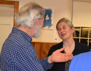 Emma Rosi-Marshall, a scientist from the Cary Institute, chats with attendees after her Stroud Water Research Center presentation entitled 'Our Rivers on Drugs.'