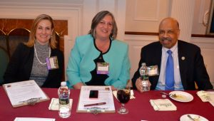 Chester County Commissioners Michelle Kichline (from left), Kathi Cozzone, and Terence Farrell savor the taste of judging.