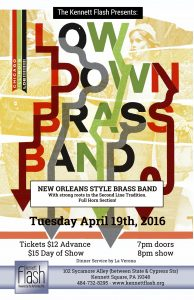 The Lowdown Brass Band is coming to the Kennett Flash.