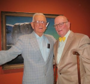 George 'Frolic' Weymouth is shown with Karl Kuerner Jr. at an art opening at the Brandywine River Museum of Art.