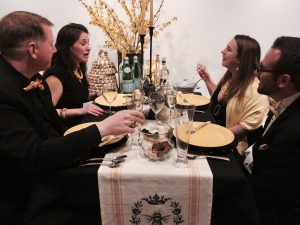 A table of four enjoys dinner at Brandywine in Black at the Brandywine River Museum of Art.