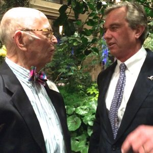 George 'Frolic' Weymouth chats with Robert F. Kennedy Jr., the recipient of the xxx award in xxx.
