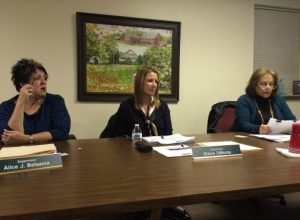 Pocopson Township Supervisors Allice Balsama (from left), Elaine DiMonte, and Ricki Stumpo listen to comments during Monday night's meeting.