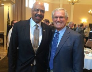 Former Eagles' Coach Dick Vermeil (right) is shown with Chester County Commissioners' Chairman Terence Farrell.